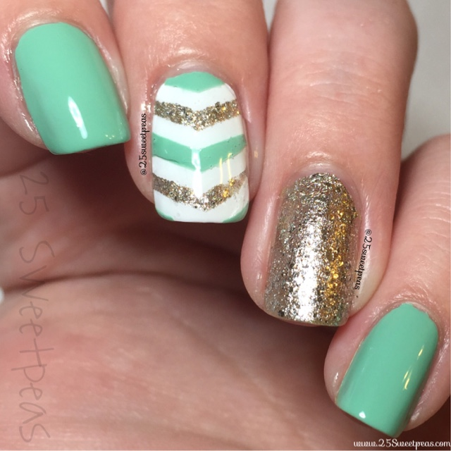 Eyes 2 Nails Mint Amp Gold 25 Sweetpeas