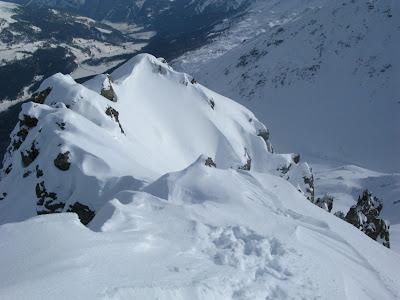Einfahrt Gipfelhang Piz Daint