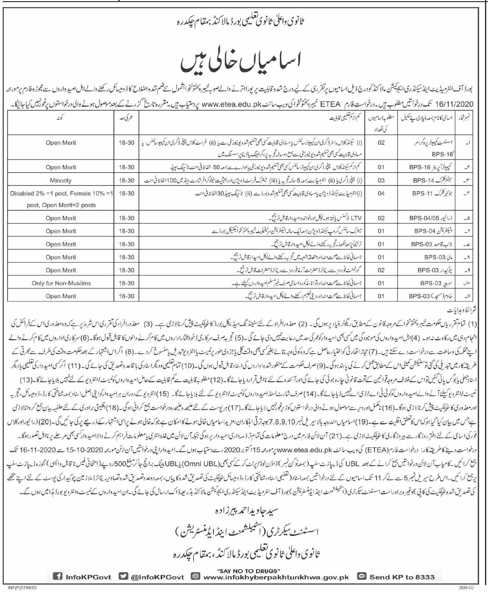 Board of Intermediate & Secondary Education BISE Jobs October 2020