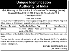 UIDAI Notice 2017 www.indgovtjobs.in