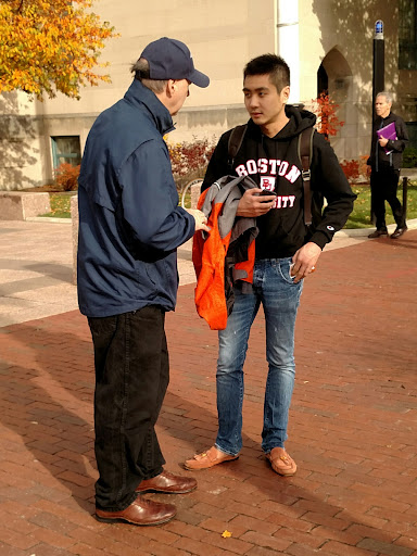 Wayne got to talk with Paul, a student at Boston University. Paul is currently considering Buddhism. Paul listened to Wayne explain the gospel of Jesus Christ for quite some time!