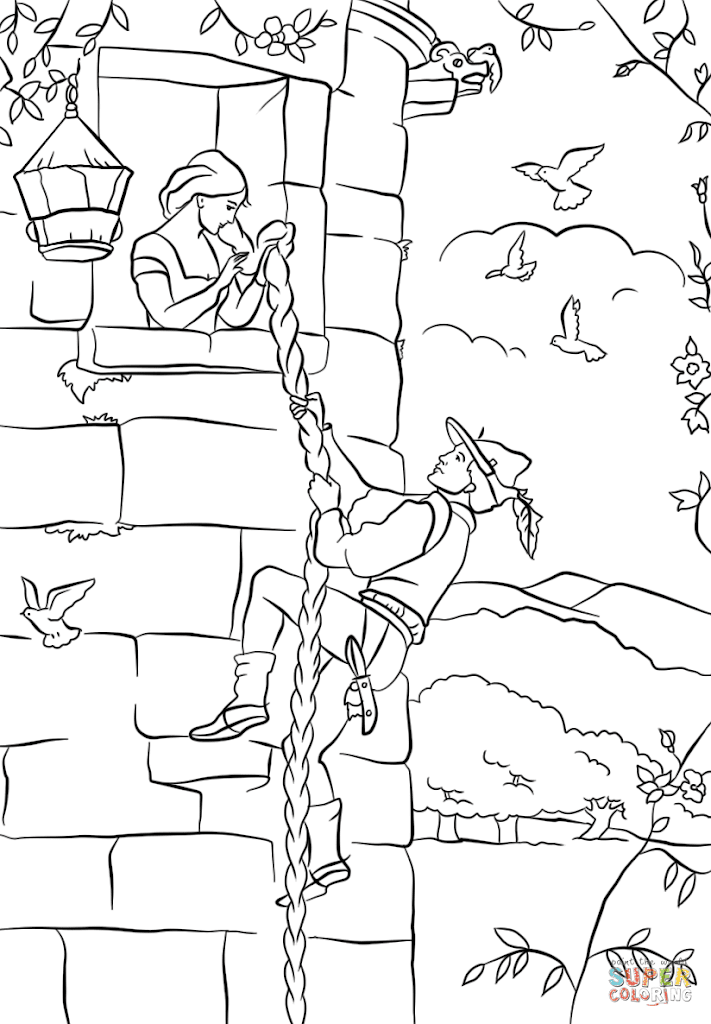 Unique Tangled Tower Coloring Pages Drawing