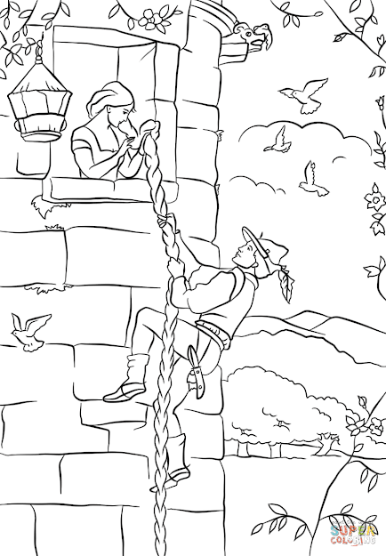 Click The Prince Climbs Up Rapunzels Tower Coloring Pages To View  Printable Version Or Color It Online Patible With Ipad And Android  Tablets