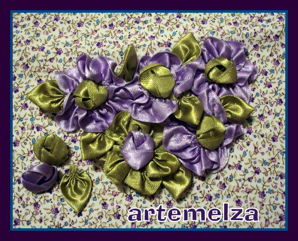 artemelza - flor de fita em hexágono