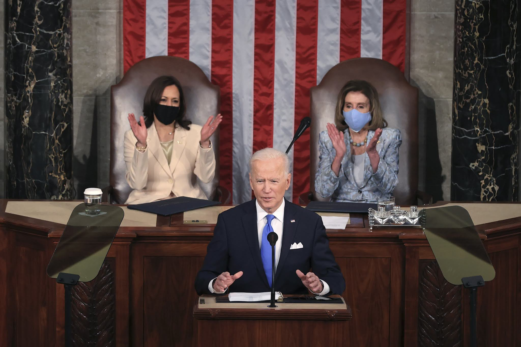 VP Kamala Harris and Nancy Pelosi make history as the first women to lead Senate at US President Joe Biden's first address to Congress (photos)