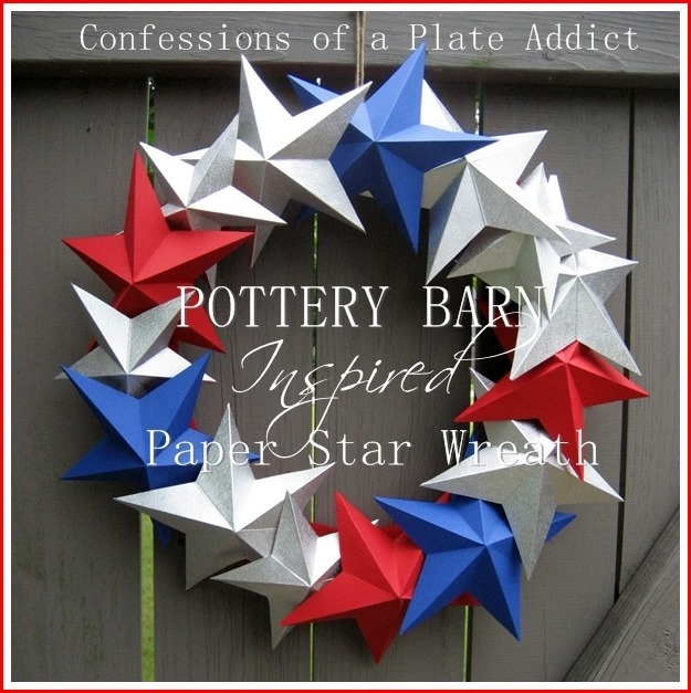 CONFESSIONS OF A PLATE ADDICT Pottery Barn Inspired 3-D Paper Star Wreath]