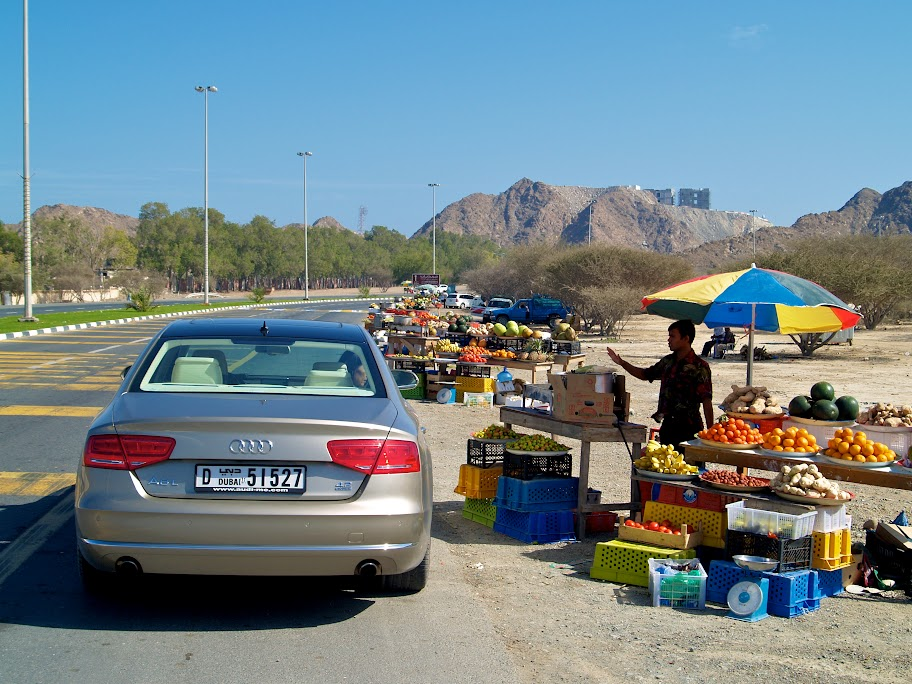 Audi A8 visits streetside fruit stalls on the east Coast