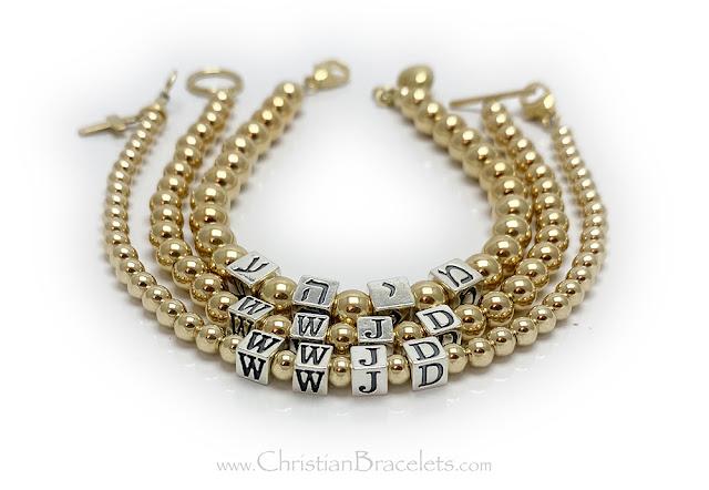 Gold WWJD Bracelet in English or Hebrew