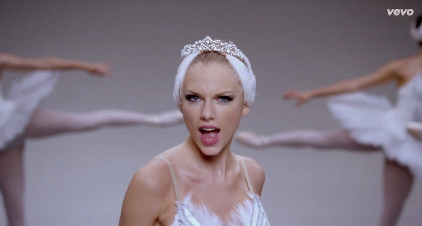 Taylor Swift ballerina getup for Shake It Off VEVO Music Video 04-19-08-2014