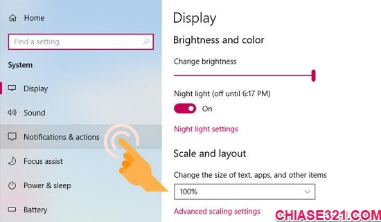 xóa nút bật tắt nhanh trên Windows 10