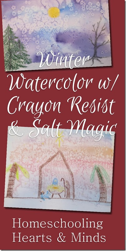 Watercolor painting with crayon resist and salt magic video tutorial for kids at Homeschooling Hearts & Minds