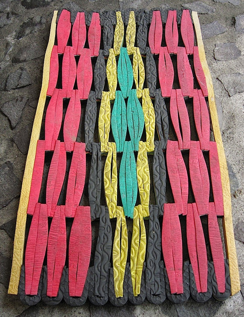 rubber mat made of flipflop scraps
