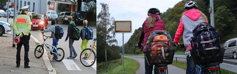 Kinder auf dem Weg yur Schule mit dem  Fahrrad