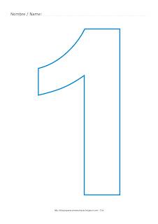 Lámina para colorear y pintar el número uno en color cian