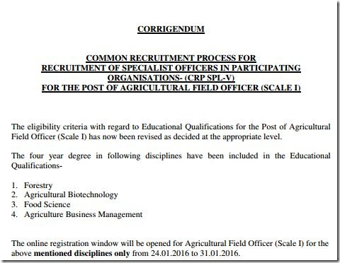 IBPS SO Agri Officer Corrigendum Eligibility