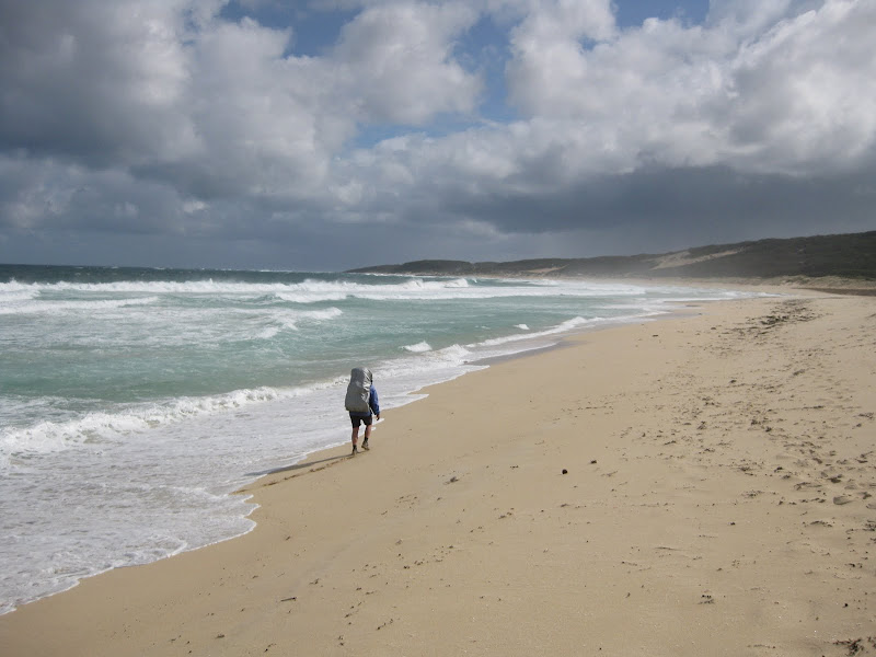 slogging along Redgate Beach - Cape to Cape Track