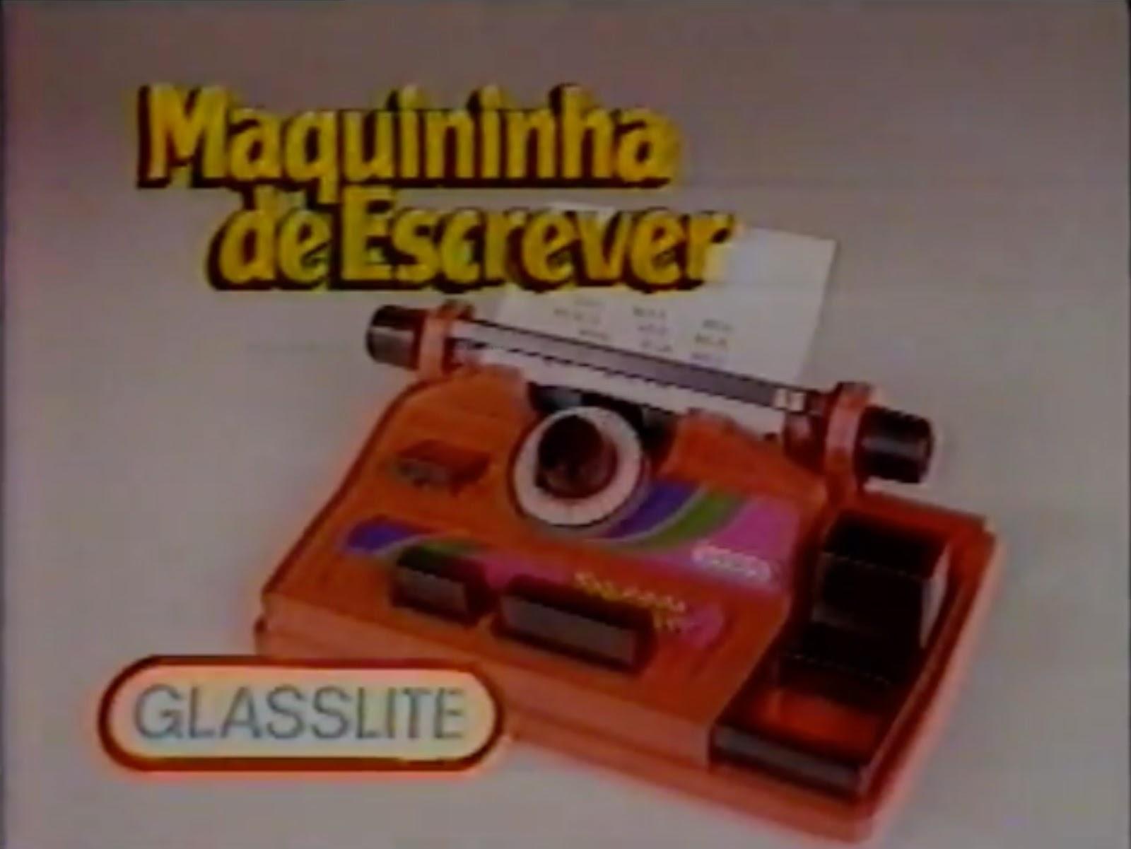 Propaganda antiga da Glasslite em 1991 promovendo a Maquininha de Escrever