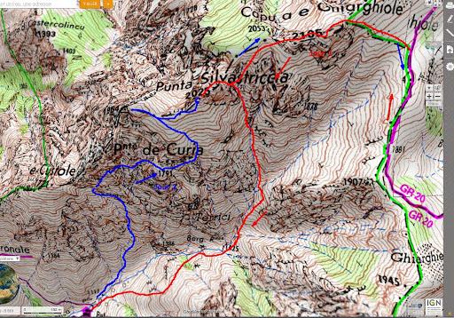 Carte des vallons de Tula et de la Haute-Lonca avec les traces des 11 et 12/08/2014