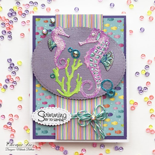 Swimming By To Say Hi Seahorse Die Cut Card