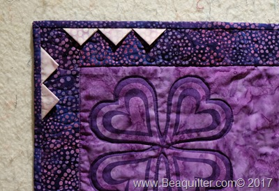 Purple batik table topper with prairie points7