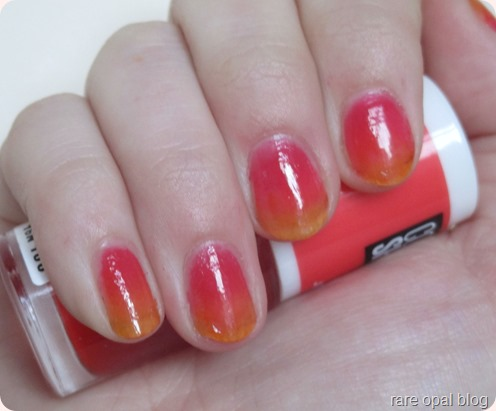 Maybelline Color Show Jelly Tints Ombre Nail Art. Sunset looking nail look using Edgy Tangy and Grapefruity