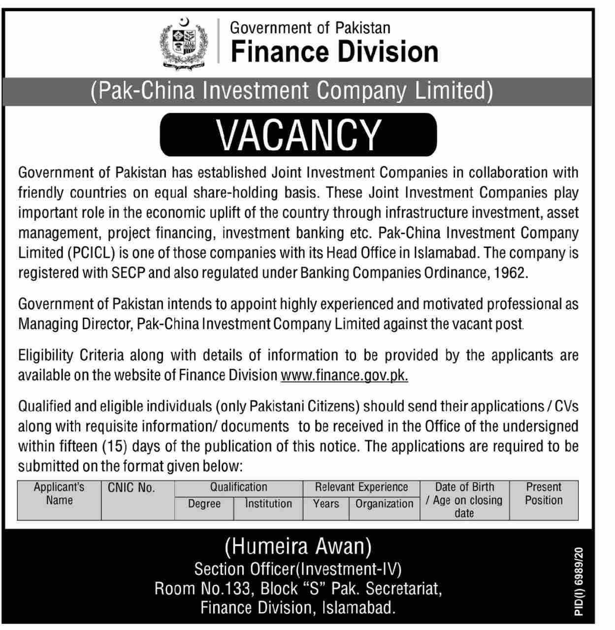 Wazarat Khazana Jobs 2021 Apply Now Finance Division Government of Pakistan Jobs 2021 (Pak China Investment Company Limited)