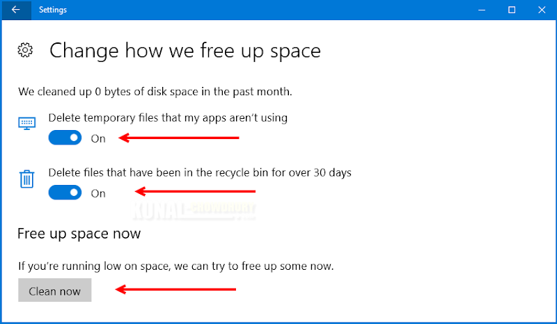 Free up space in Windows 10 (www.kunal-chowdhury.com)