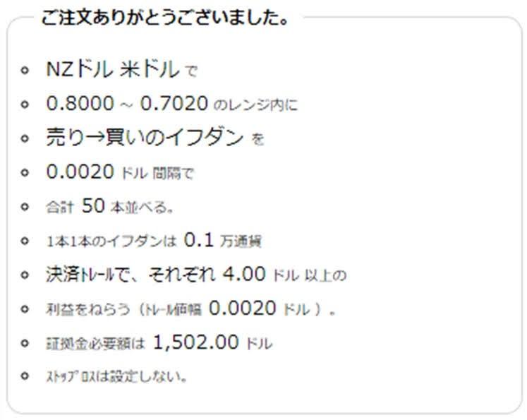 ココのトラリピNZD/USDの注文履歴売りから買い