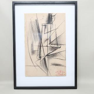 Signed Conté Crayon Drawing