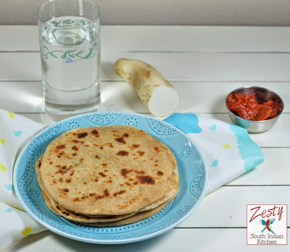 Mooli ka paratha/ Radish Stuffed Flat Bread