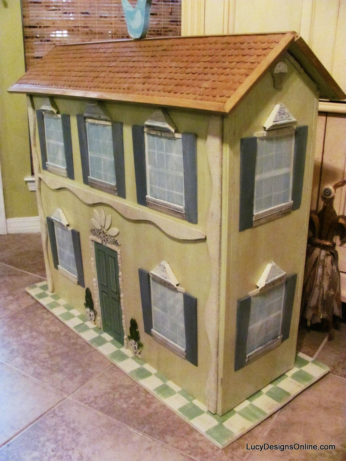 Hand Painted Dollhouse Book Shelf Lucy Designs