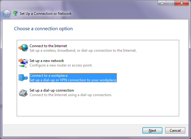 Setup VPN - Select connection type