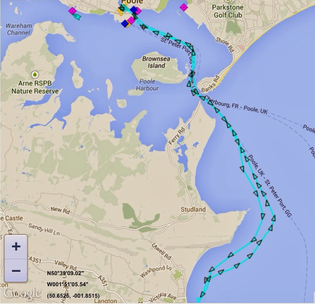 The track of Poole all-weather lifeboat on AIS during a call out to a 13.4m motorboat in Swanage Bay on the evening of 1 October 2013 Image: marinetraffic.com/ais