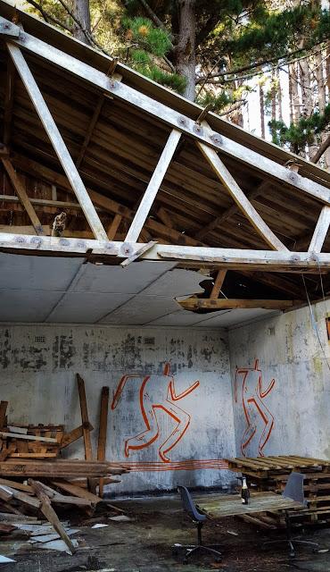 Photo of a dilapidated military hut near Shelley Bay, Wellington