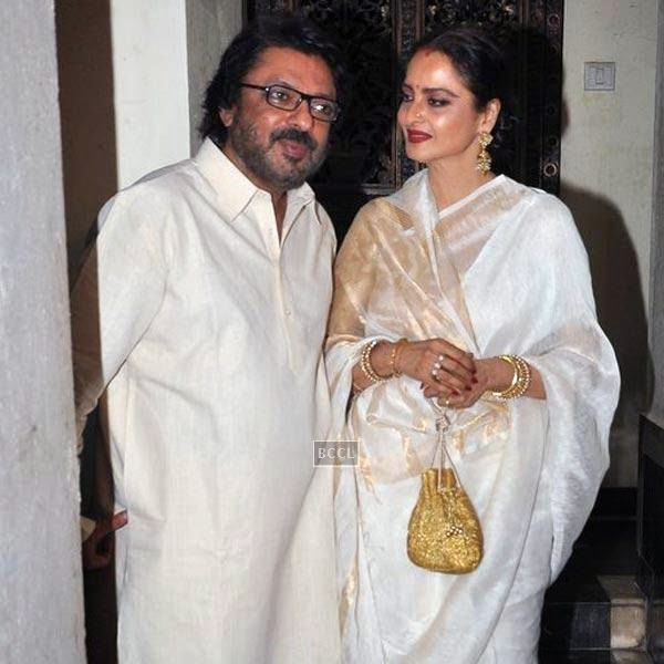 Sanjay Leela Bhansali with Rekha during the wrap-party of Bollywood movie Mary Kom, held at his residence on July 26, 2014.(Pic: Viral Bhayani)