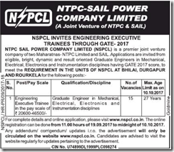 NSPCL Executive Trainees through GATE 2017 indgovtjobs