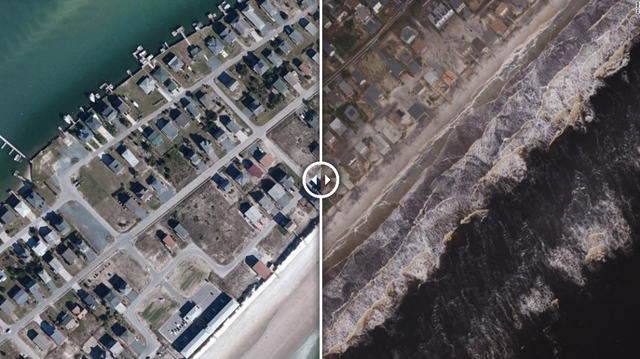 Before-and-after aerial view of the southernmost portions of Anderson Boulevard, the main thoroughfare of Topsail Beach in North Carolina, in 2014 (left) and on 19 September 2018 (right). Floodwaters from Hurricane Florence still cover parts of Anderson Boulevard with dark standing water. Ocean Boulevard, one of the side streets, is completely covered with sand. Photo: NOAA / CNN