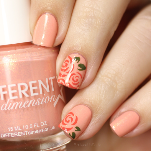 Minimalistic Peach Roses Nail Art | Mother's Day Nail Designs