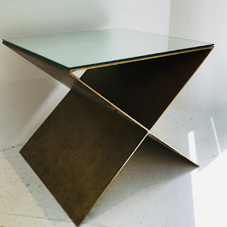 Mirrored-Top X Accent Table