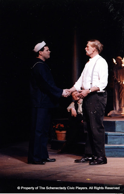 Gerry Stryker, Mark Spickerman and Bob Laurilliard in LOOK HOMEWARD, ANGEL (R) - March 1994.  Property of The Schenectady Civic Players Theater Archive.