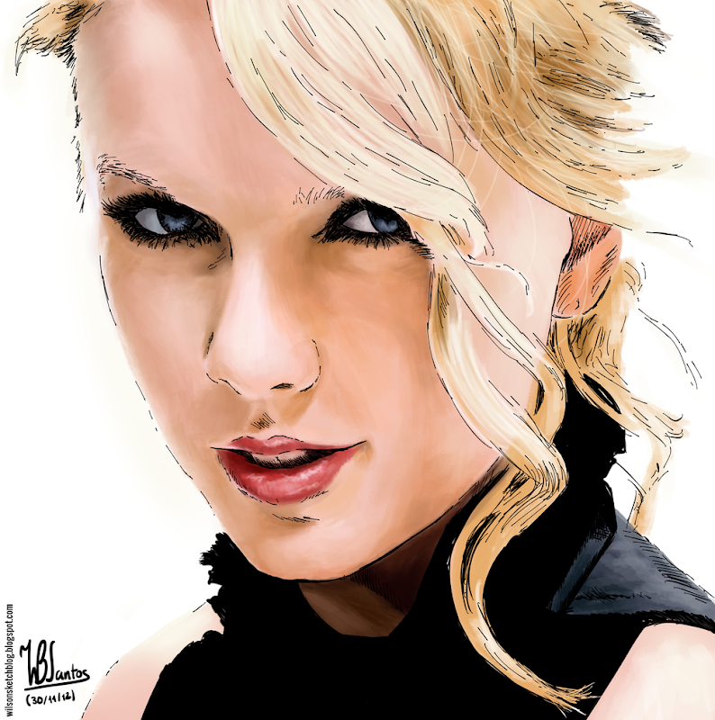 Colored ink drawing of Taylor Swift, using Krita 2.5.
