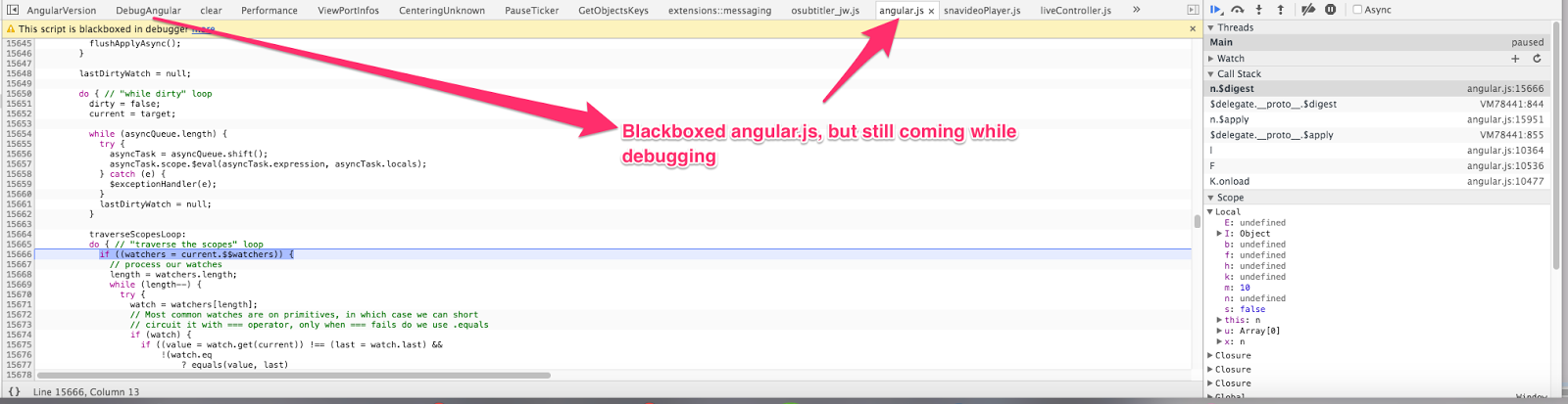 Chrome Debug Mode, Control is going to blackbox script