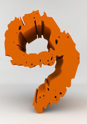 lettre 3D chiffron de craie orange - 9 - images libres de droit