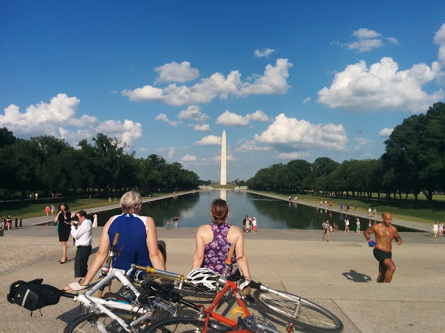 Enjoying the view of the National Monument at National Mall, Washington DC
