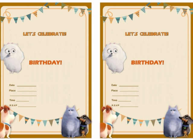 Secret Life Of Pets Free Printable Party Invitations