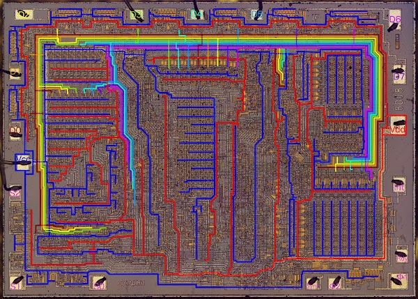 Die photo of the 8008 microprocessor. The power bus is shown in red and blue. The data bus is shown with 8 rainbow colors.