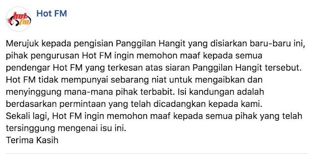 Hot FM minta maaf isu panggilan hangit