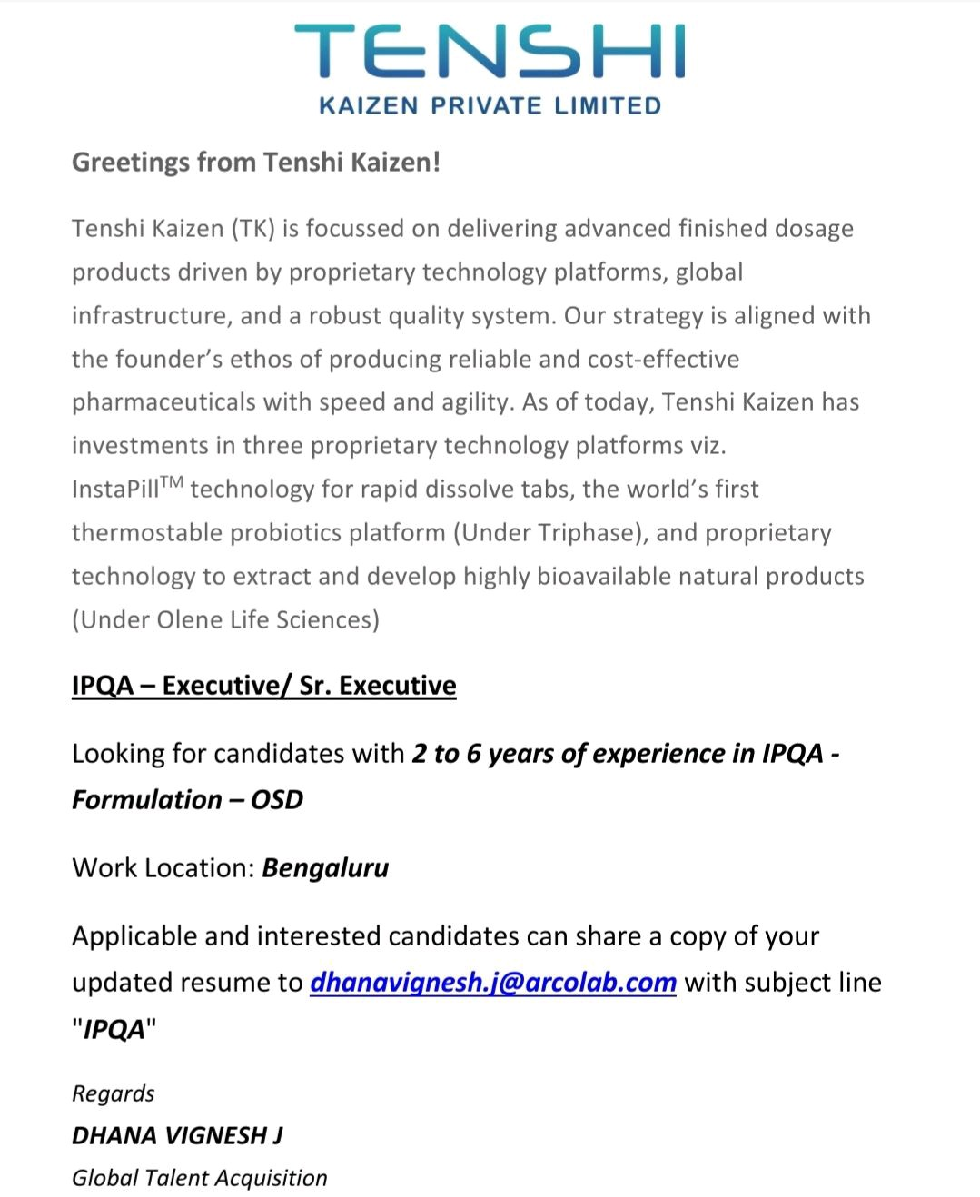 Opening For IPQA Executive At Tenshi Pharmaceuticals