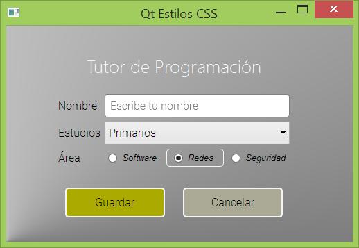 Qt GUI con Estilos QSS