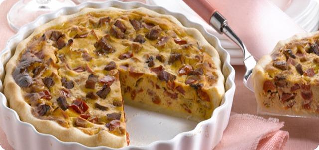 Torta salata ricotta, pancetta e peperoni